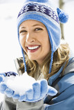 Woman with snowball. poster