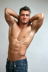 Stretching Muscular Man