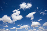 Fluffy cumulus clouds in blue sky. poster