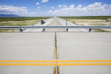 Overpass with highway below with tractor trailer truck. poster