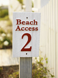 Beach access sign. poster
