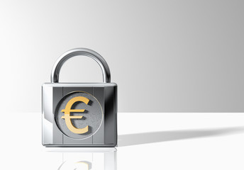Padlock with euro sign