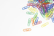 Scattered Multicolored Paper Clips, overhead view, close up