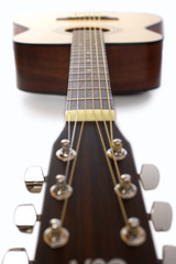 Acoustic guitar in studio, surface view