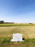 Headstone in field. poster