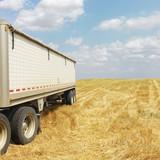 Tractor trailer truck in field. poster
