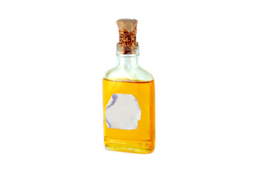 An old corked medicine bottle again white