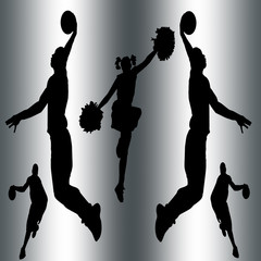 Basketball players and cheerleader