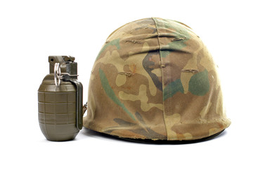 Military helmet and grenade