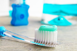 Tooth brush, mouthwash and floss poster