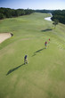 Aerial of golfers.