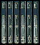 Old vintage leather book spines with gold decorative details poster