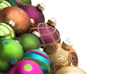 Christmas baubles border isolated