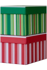 Red and green Christmas gift boxes