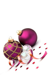 Christmas baubles decorations isolated