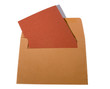 Orange brown envelope with red card isolated on white.
