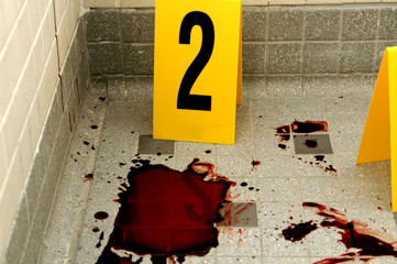 Blood Splat with Evidence Marker