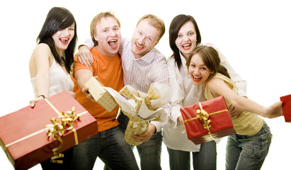 Five funny friends with gifts isolated on white