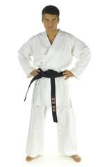 Young man dressed white kimono