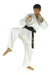 Young man training karate