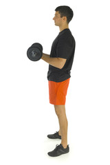 Young man exercising arms muscles with barbell