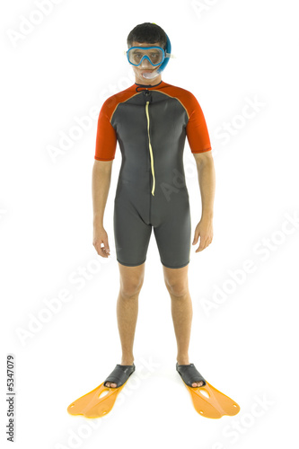Young man dressed diving-dress