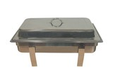 A Stainless Steel Food Warmer Chaffing Dish. poster