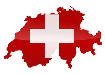 Carte de la Suisse (Drapeau métal)
