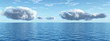 Beautiful sea and clouds sky - digital artwork (panorama)