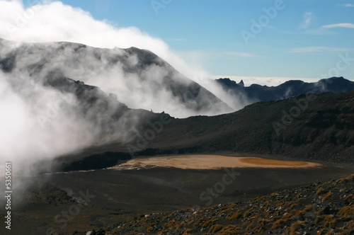 Red volcano crater lake and mist. Tongariro New Zealand