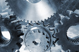 large industrial gears in conceptual toning poster