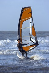 Windsurfer surfing the waves in the Netherlands