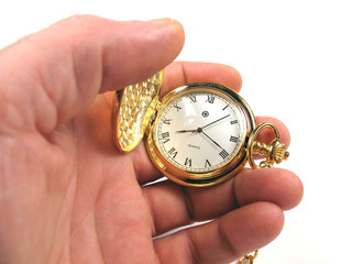 hand holding watch