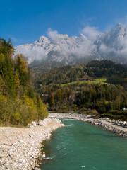 River in the autumn valley, Alps, Austria