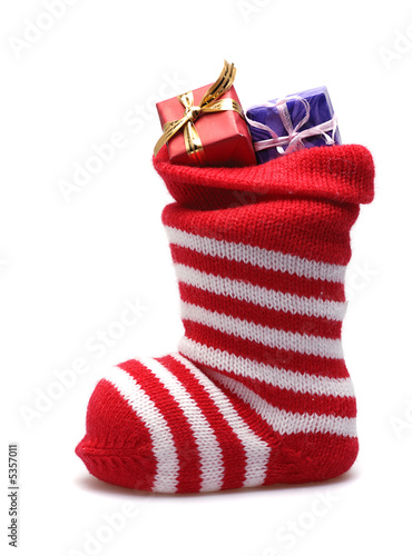 christmas stocking with gifts  isolated on white - 5357011