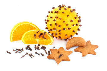 fresh orange and clove in the form of pomander