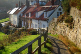 Picturesque cottages in Sandsend near Whitby poster