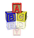 ABC wooden blocks poster