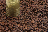 Turkish Coffee Grinder and Coffee Beans poster