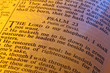 Close-up of Bible page showing Psalm 23.  Warm lighting.