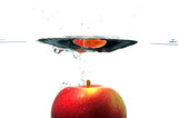 Red apple with a bit of motion blur as it sinks into water. poster