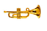 Gold trumpet isolated over white background poster
