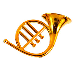 Gold trumpet (decoration) isolated over white background