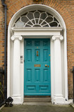 Original turquoise colored door in Georgian Dublin
