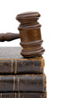 legal concept with gavel and law books on white