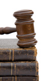 legal concept with gavel and law books on white poster