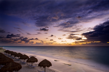 Sunrise along the white sand beaches of Cancun
