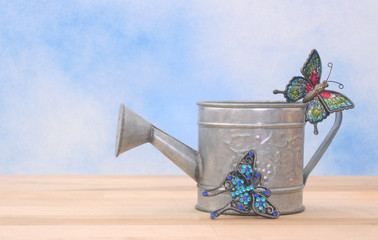 Metal Watering Can on Blue Sky Background