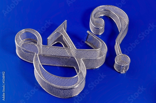 Wire mesh ampersand and question mark on a blue background.