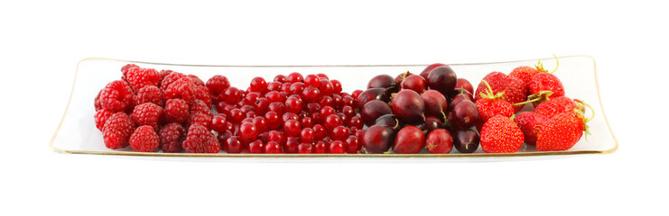 Bowl of berries on a white background with Clipping Path.